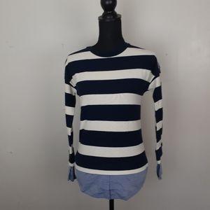 J. Crew Lightweight Knit Top Long Sleeved Striped